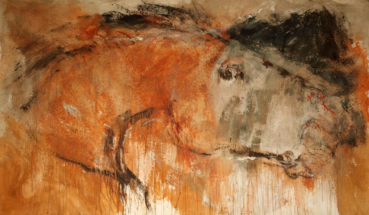 BAIO CON TERRA ROSSA - terre su tela, cm 160 x 300