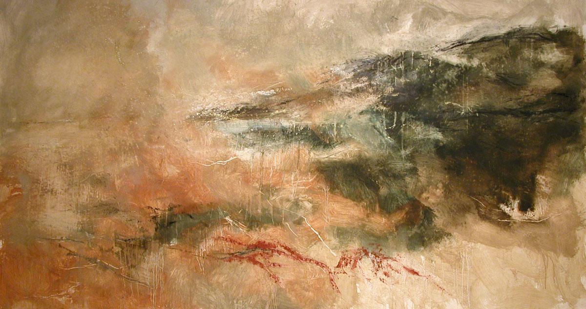 PAESAGGIO - terre e bitume su tela, cm 160 x 300